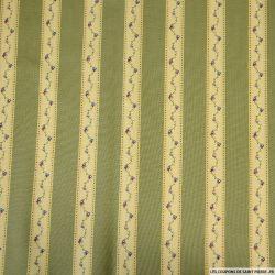 Coton imprimé en bande lierre grimpant fond vert
