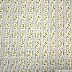 Coton imprimé rayé fantaisie fleurs fond carreaux bleu ciel