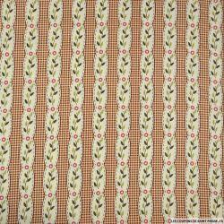 Coton Gütermann imprimé rayé fantaisie fleurs fond carreaux marron