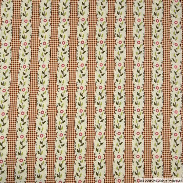 Coton imprimé rayé fantaisie fleurs fond carreaux marron