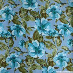 Satin polyester imprimé aquarelle fond bleu