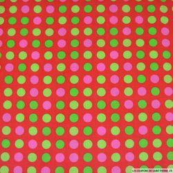 Coton imprimé pois linéaire fond rouge