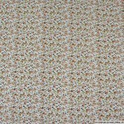 Coton imprimé colonie florale marron