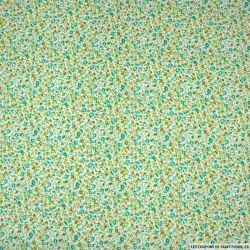 Coton imprimé fleurs vert et orange