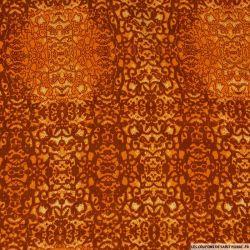 Viscose imprimé totem caché orange