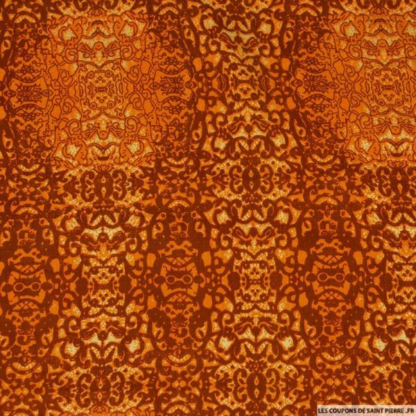 Viscose imprimé totem caché orange