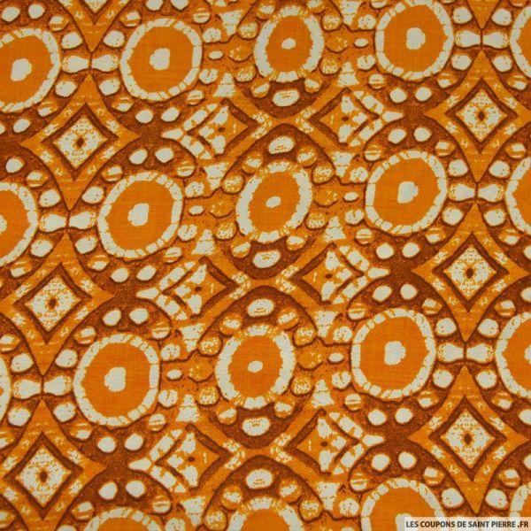 Viscose imprimé hibou orange