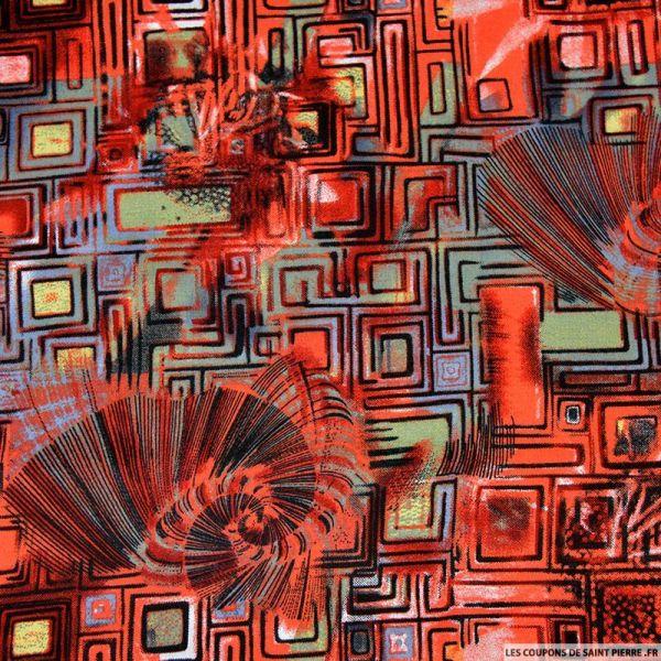 Viscose imprimé formes et aiguilles rouge