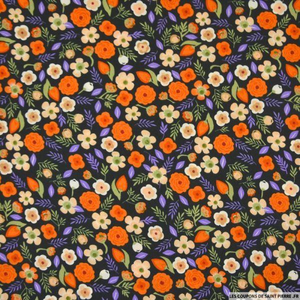 Microfibre imprimée les fleurs du vent orange
