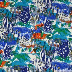 Viscose imprimé aquarelle bleu