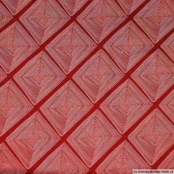 Viscose imprimé losange en tête rouge