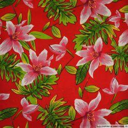 Microfibre imprimée hibiscus fond rouge