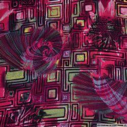 Viscose imprimé formes et aiguilles rose