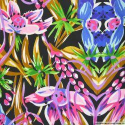 Microfibre imprimée jungle floral mauve