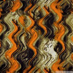 Viscose imprimé expressionnisme orange