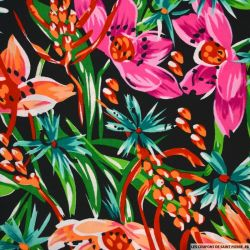 Microfibre imprimée jungle floral orange