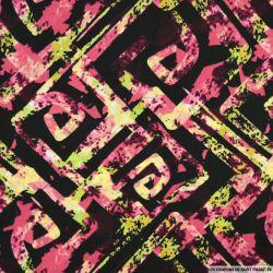 Microfibre imprimée labyrinthe fond noir et rose