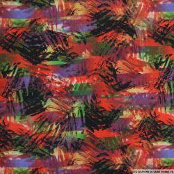 Microfibre imprimée rayures sauvages fond rouge