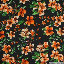 Microfibre imprimée fleurs argentique fond noir