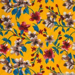 Microfibre imprimée fleurs argentique fond jaune