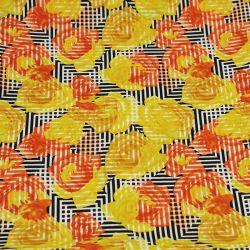 Microfibre imprimé roses jaune fond noir géométrique