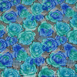 Microfibre imprimé roses bleu fond noir géométrique