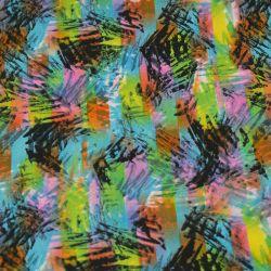 Microfibre imprimée rayures sauvages fond bleu