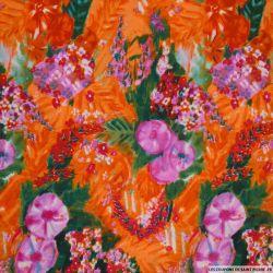 Microfibre imprimée impressionniste fond orange