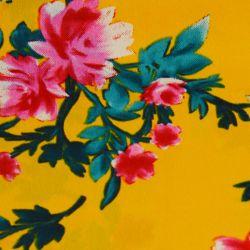 Microfibre imprimée rosier rose fond jaune