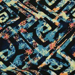 Microfibre imprimée labyrinthe fond noir et bleu
