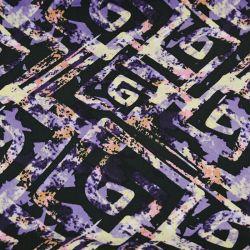 Microfibre imprimée labyrinthe fond noir et mauve