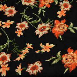 Microfibre imprimée bouture de fleurs orange