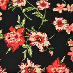 Microfibre imprimée bouture de fleurs rouge