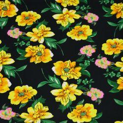 Microfibre imprimée envolée fleur jaune fond noir