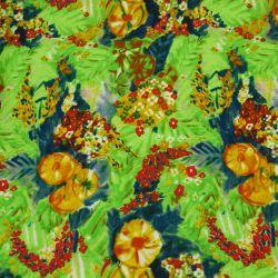 Microfibre imprimée impressionniste fond vert