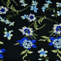 Microfibre imprimée bouture de fleurs bleu