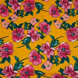 Microfibre imprimée envolée fleur rose fond jaune