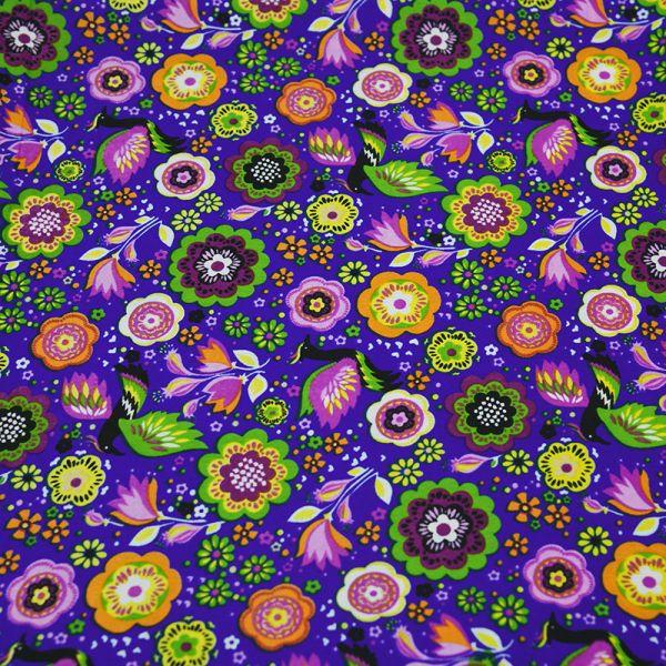 Microfibre imprimée Folk fond violet