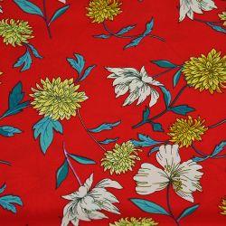 Microfibre imprimée chrysanthème fond rouge