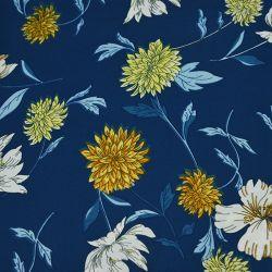 Microfibre imprimée chrysanthème fond bleu