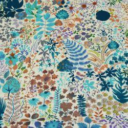 Microfibre imprimée feuillage d'automne bleu