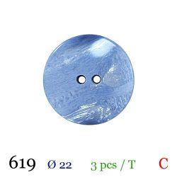 Tube 3 boutons bleu nacré Ø 22mm