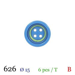Tube 6 boutons bleu Ø 15mm