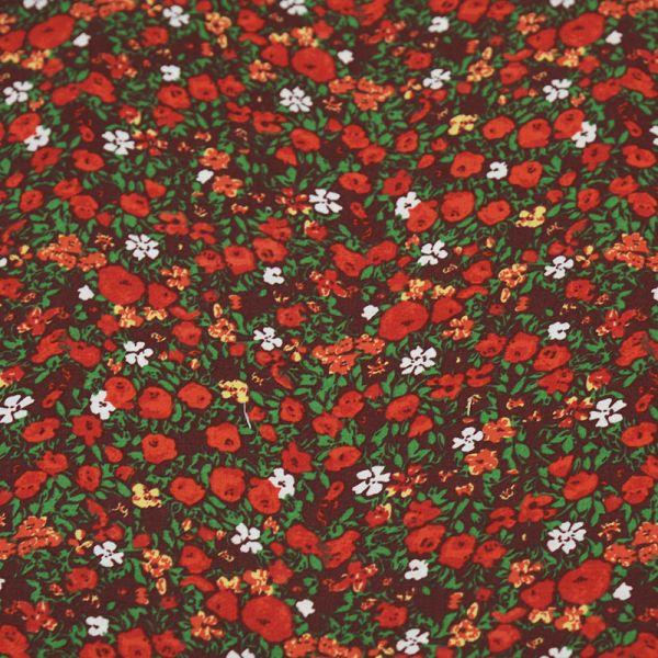 Toile de coton pâturage fleuri rouge