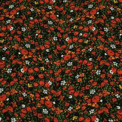 Toile de coton pâturage fleuri noir