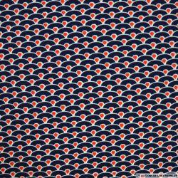 Microfibre imprimée vague seigaiha bleu et rouge
