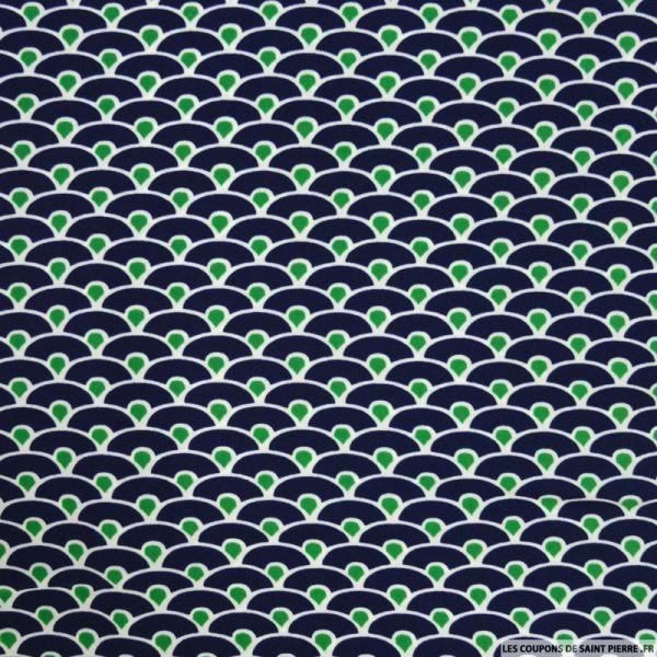 Microfibre imprimée vague seigaiha bleu et vert