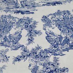 Tissus Piqué de coton toile de jouy marine