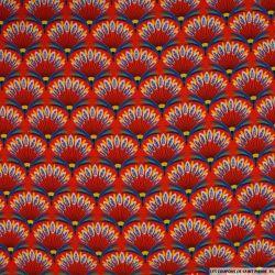 Microfibre imprimée plume fond rouge