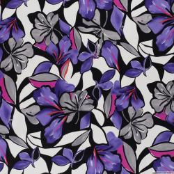 Satin de coton élasthane imprimé jardin aquarelle violet